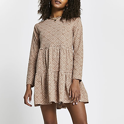 Brown RI monogram tiered smock mini dress