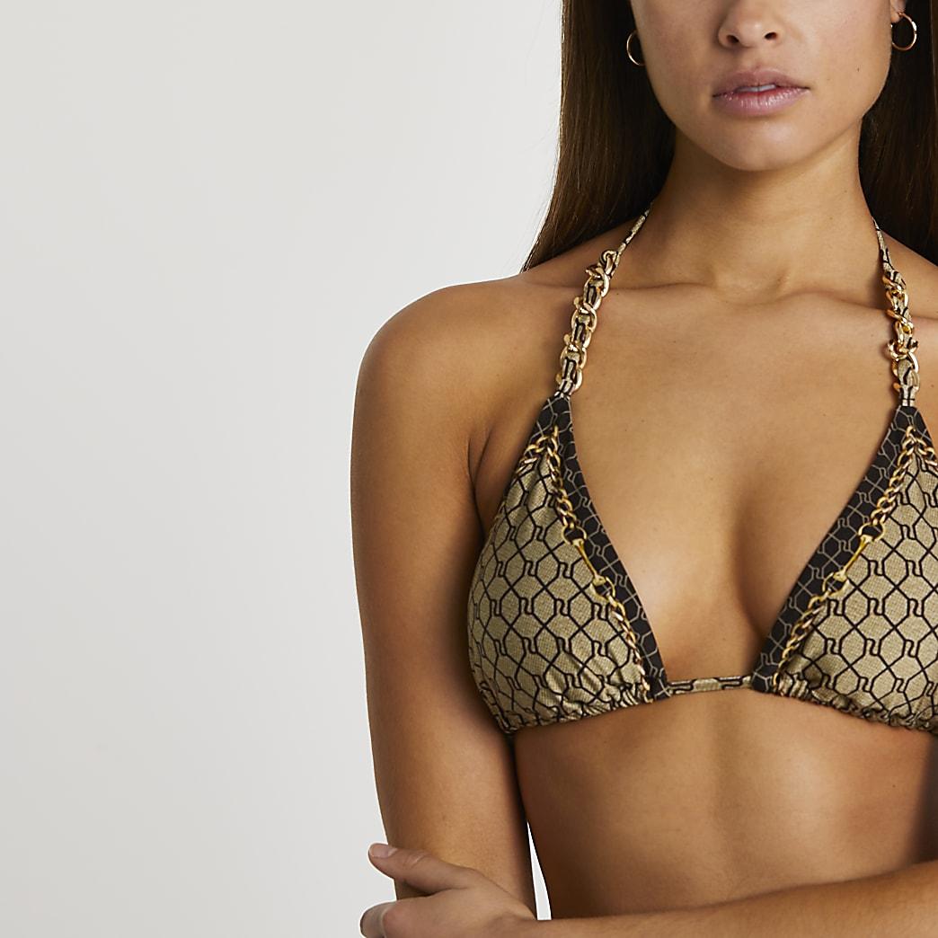 Brown RI monogram triangle bikini top