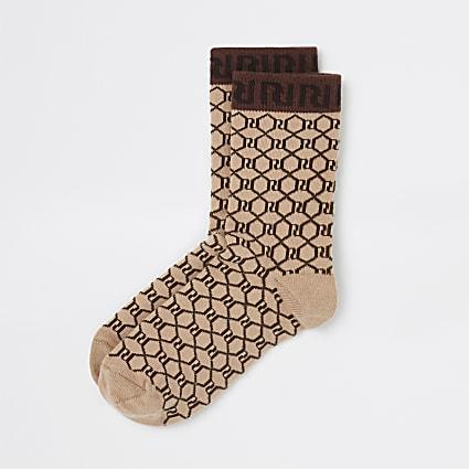 Brown RI monogram tube socks