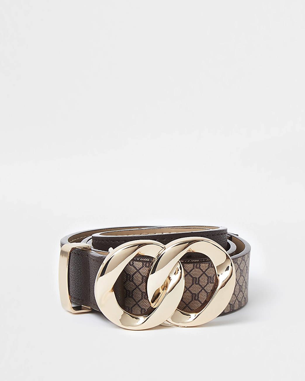 Brown RI monogram twist buckle belt