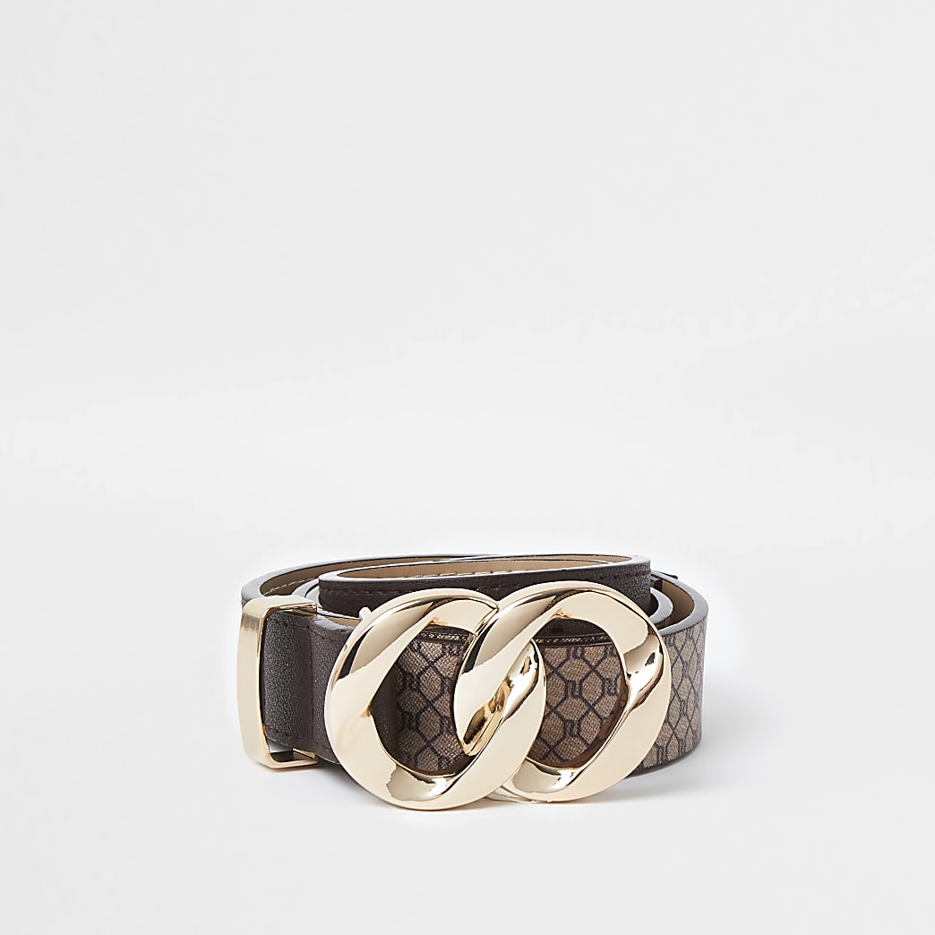 Brown RI Monogram twist buckle belt