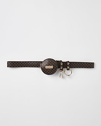 Brown RI monogram utility buckle belt