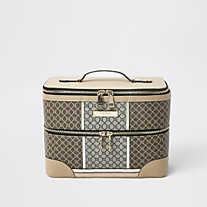Bruine beautycase met RI-monogram