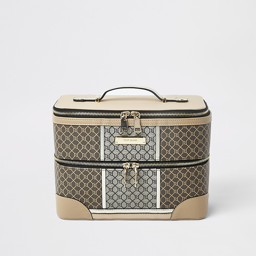 Brown RI monogram vanity case