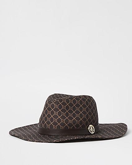 Brown RI monogram wide brim Fedora hat