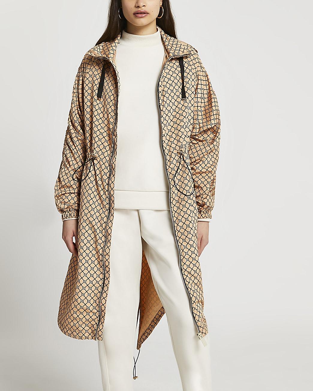 Brown RI monogram windbreaker jacket