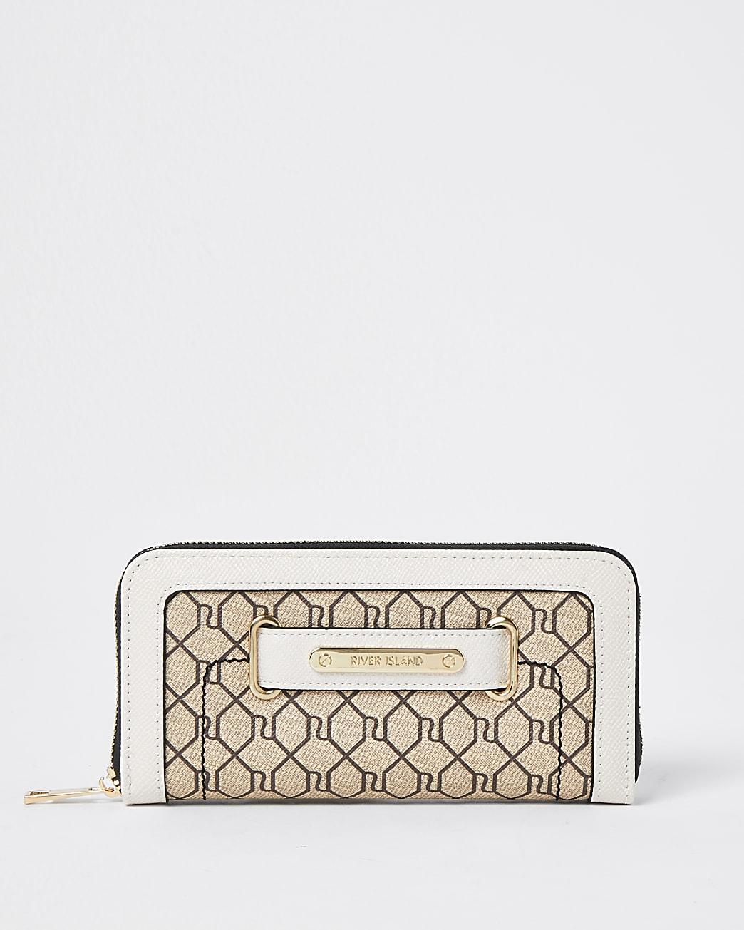 Brown RI monogram zip around purse