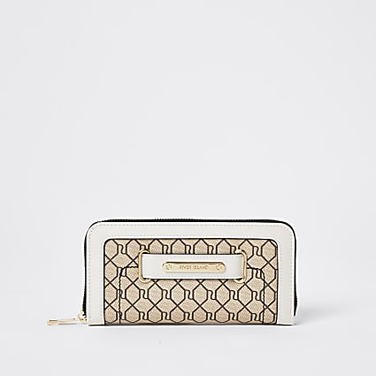 Brown RI monogram zip around purse