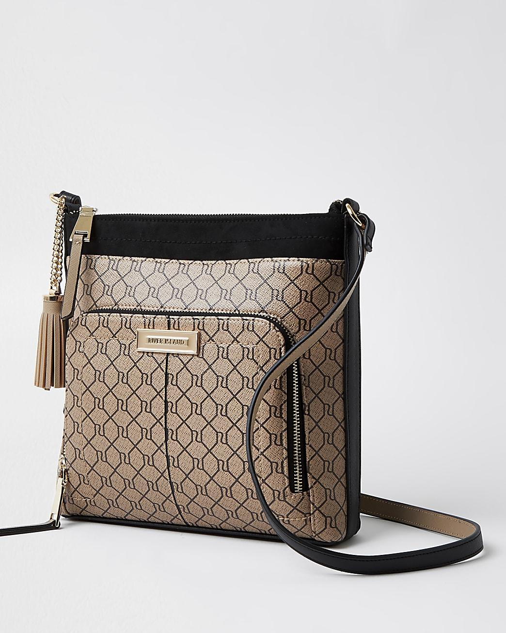 Brown RI monogram zip pocket messenger bag