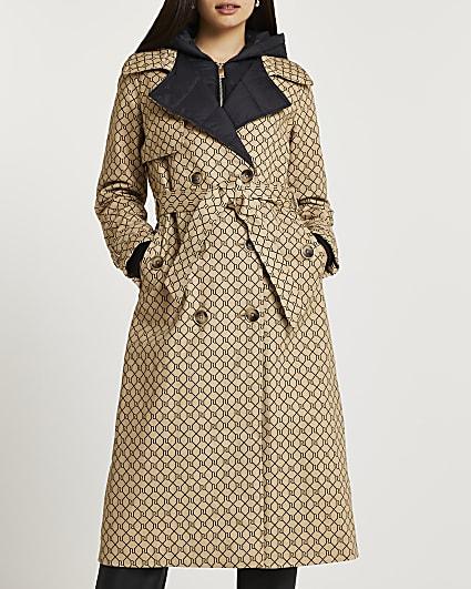 Brown RI monogrammed hybrid trench coat