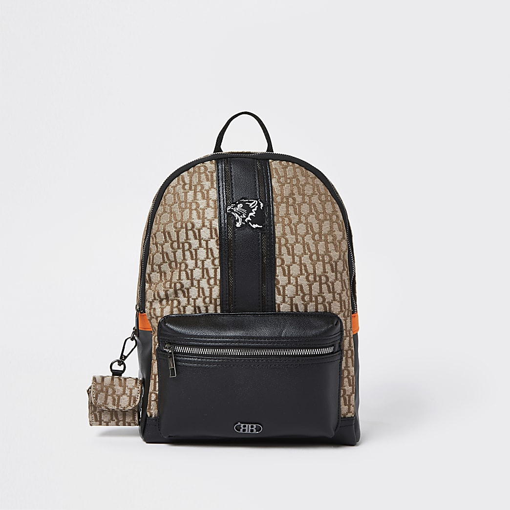 Brown RI nylon backpack