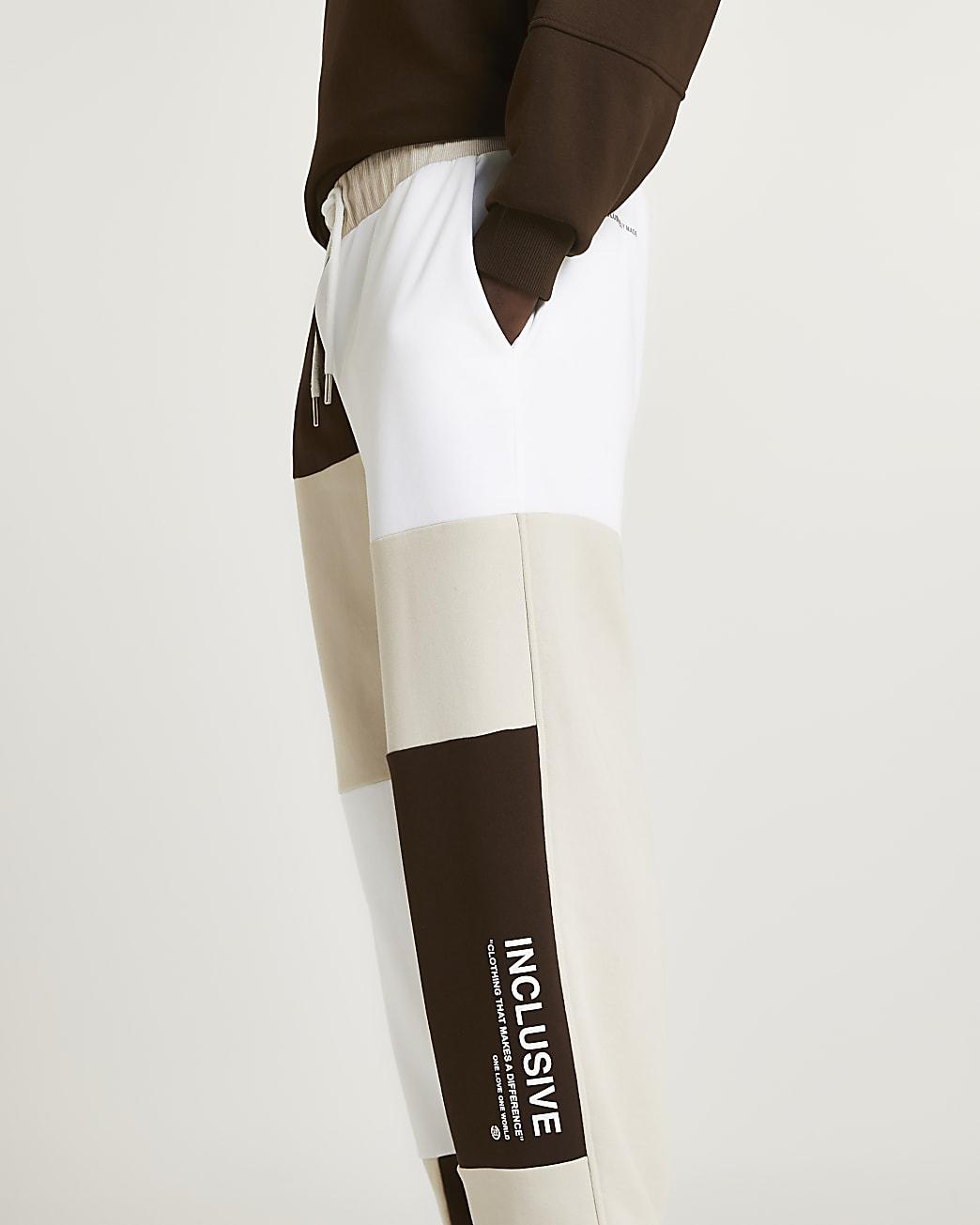 Brown RI ONE colour block joggers