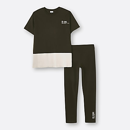 Brown RI ONE contrast t-shirt and legging set