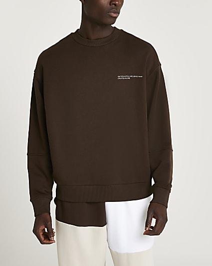 Brown RI ONE graphic sweatshirt