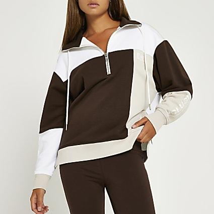 Brown RI One half zip sweater