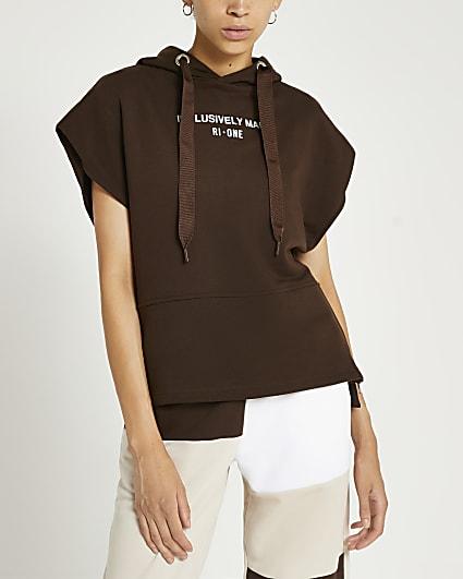 Brown RI One sleeveless hoodie