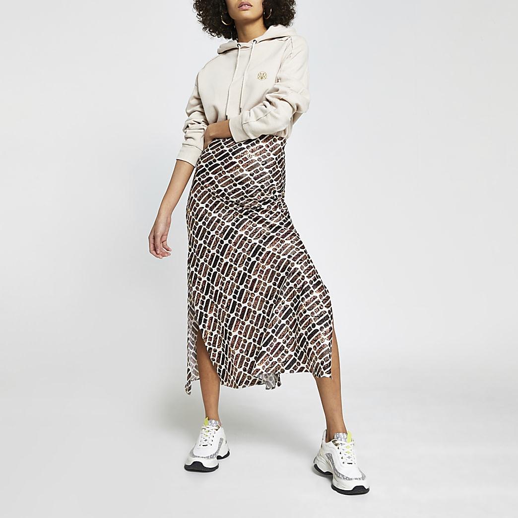 Brown RI print split skirt