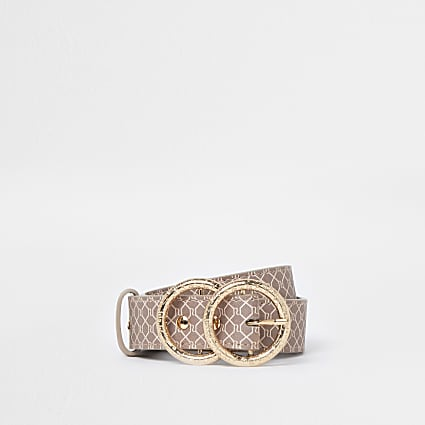 Brown RI printed double ring buckle belt