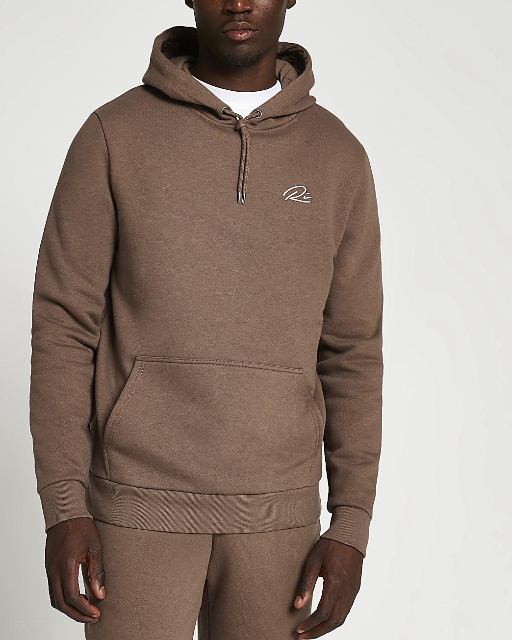 Brown RI slim fit hoodie