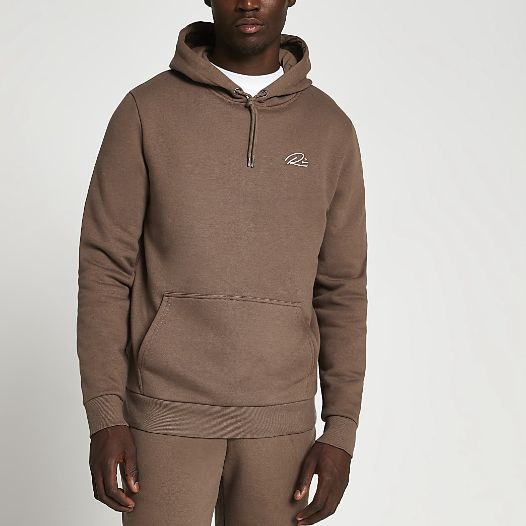 Brown RI slim fit hoodie