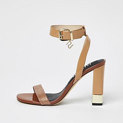 Brown RI strap snake print block heels