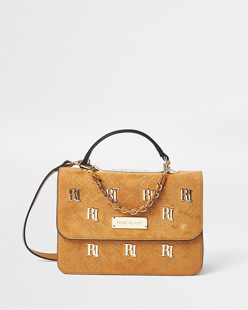 Brown RI stud shoulder bag
