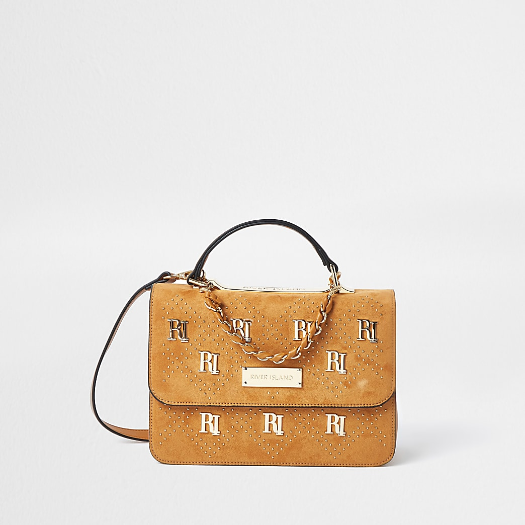 Brown RI stud shoulder bag