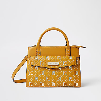 Brown RI stud tote bag