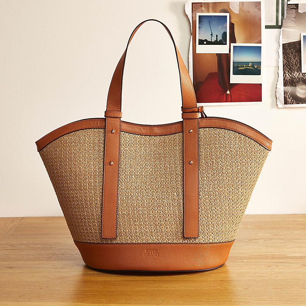 Brown RI studio beach tote bag