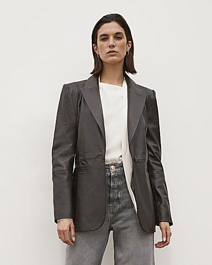 Brown RI Studio Leather Blazer