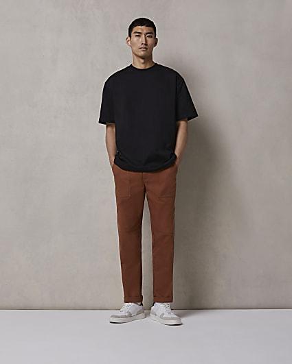 Brown RI Studio regular fit trousers