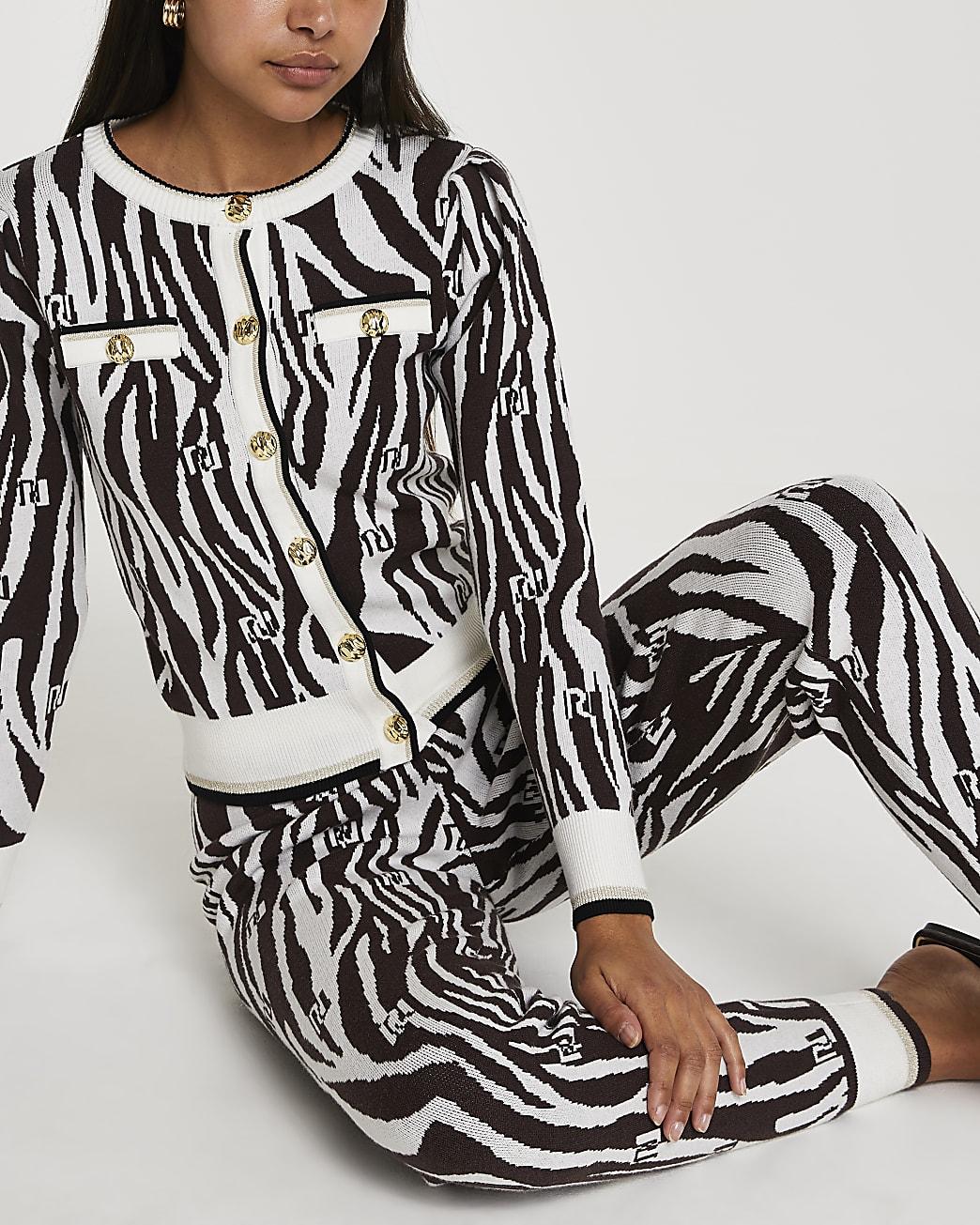 Brown RI zebra print fitted cardigan
