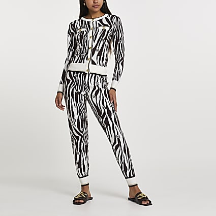 Brown RI zebra print skinny fit joggers
