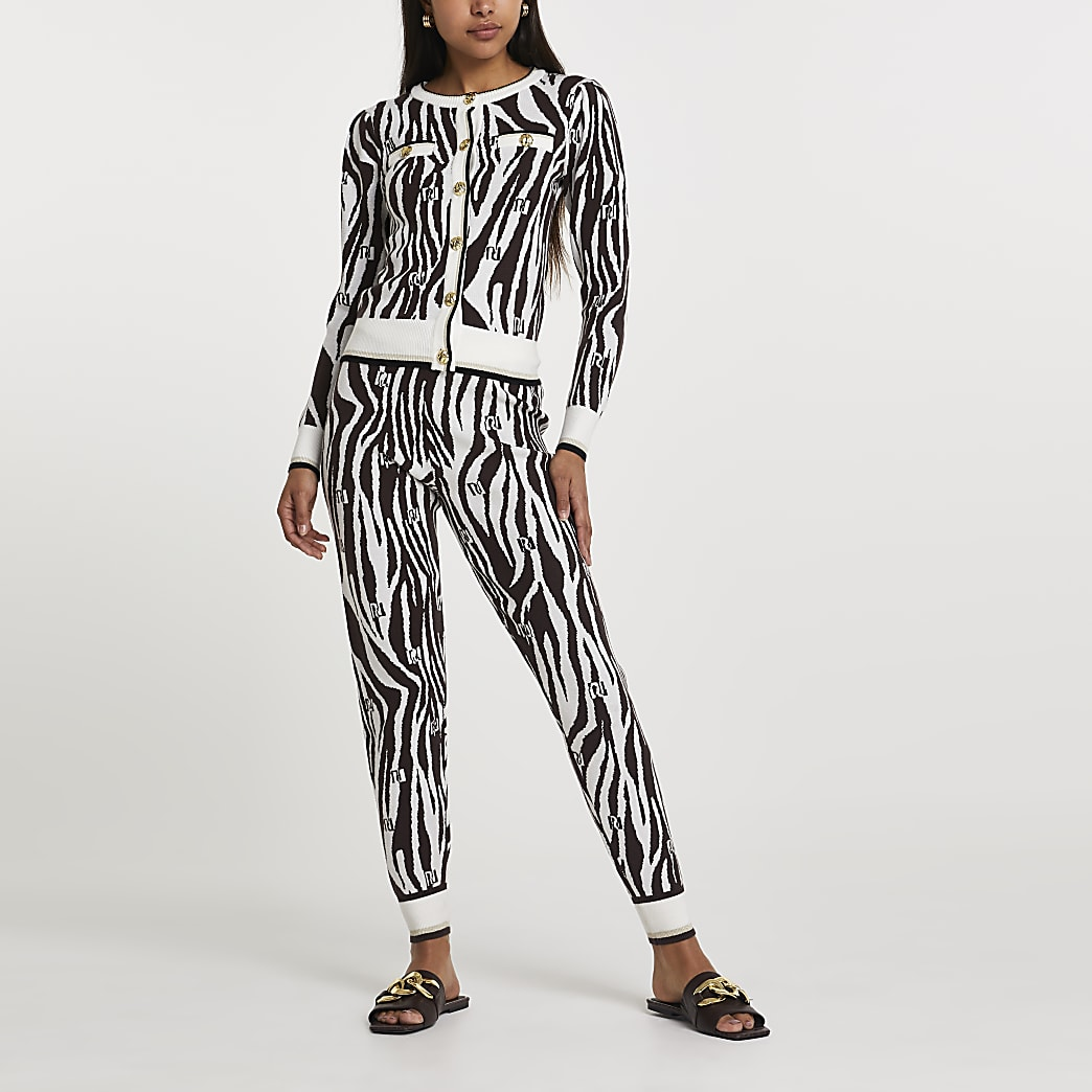 Brown RI zebra print skinny fit joggers