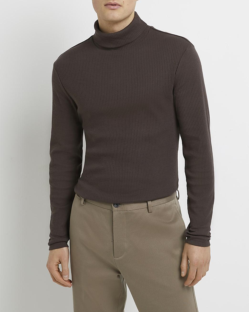 Brown rib roll neck long sleeve jumper