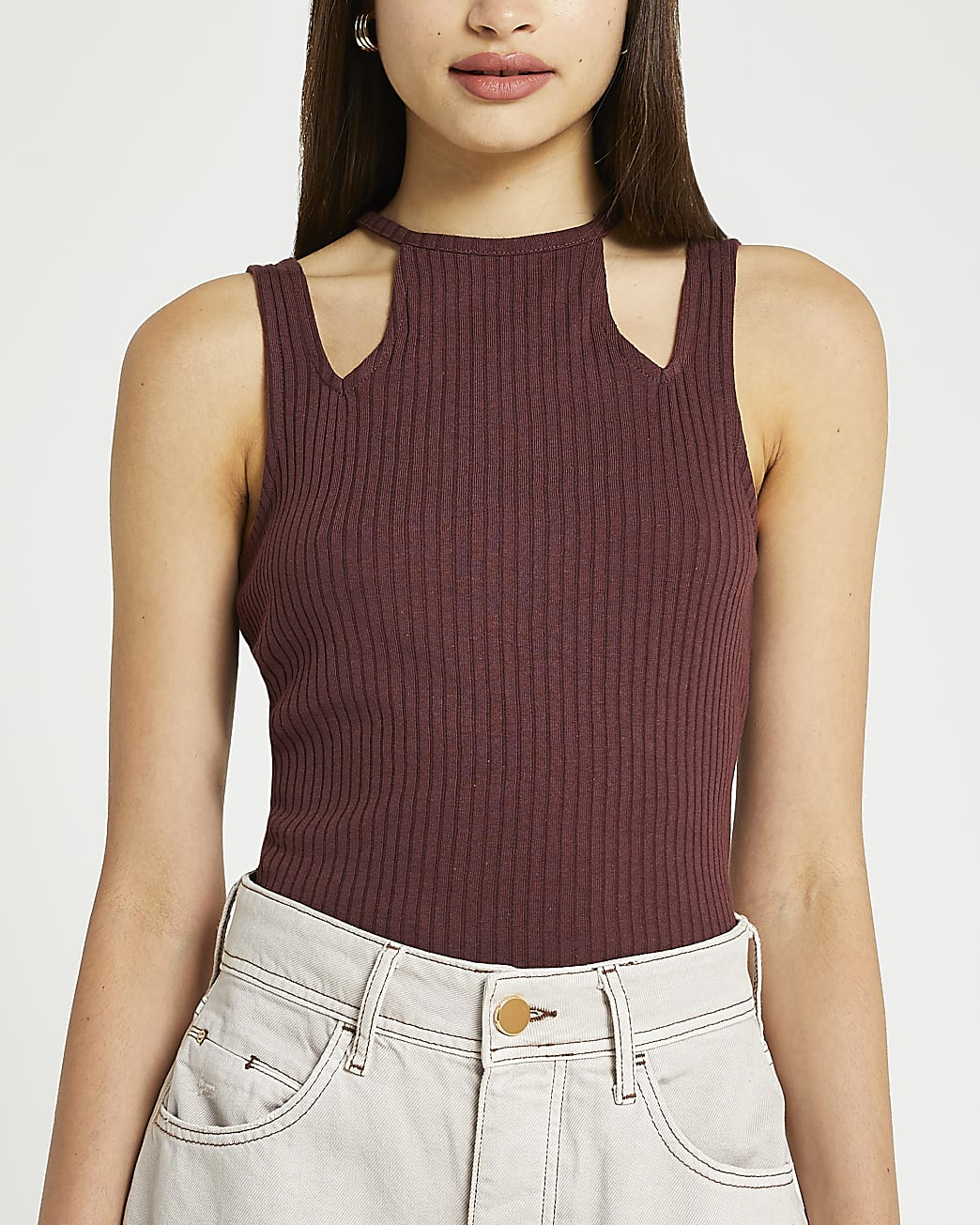 Brown ribbed cut out neck vest top