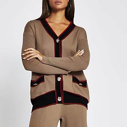 Brown ribbed gold button long line cardigan