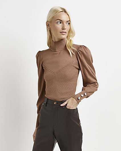 Brown ribbed puff sleeve jumper