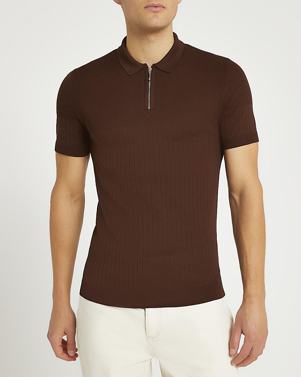 Brown ribbed short sleeve polo shirt
