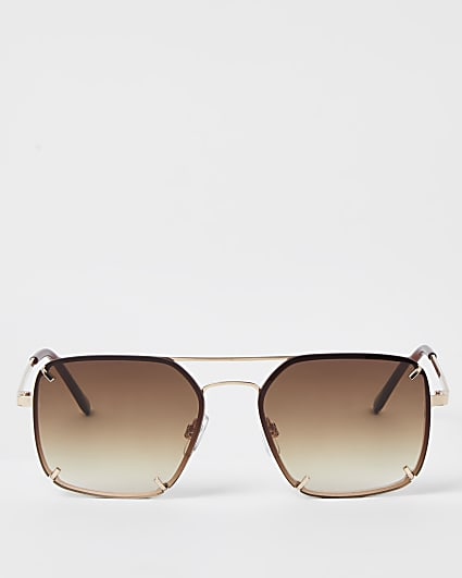 Brown rimless aviator sunglasses