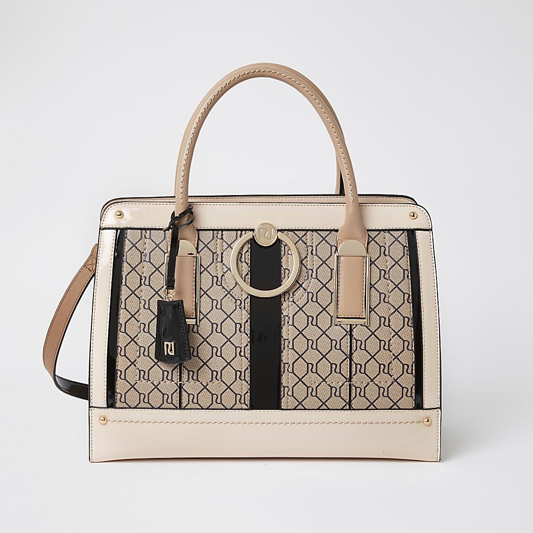 Brown ring front tote handbag