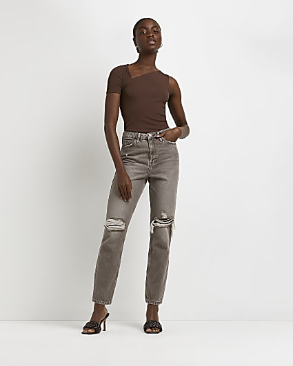 Brown ripped high waisted mom jeans