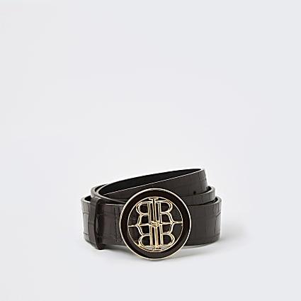 Brown RIR embossed buckle belt