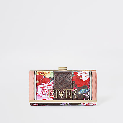 Brown 'River' floral monogram zip purse