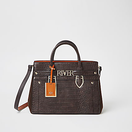 Brown 'River' tote handbag