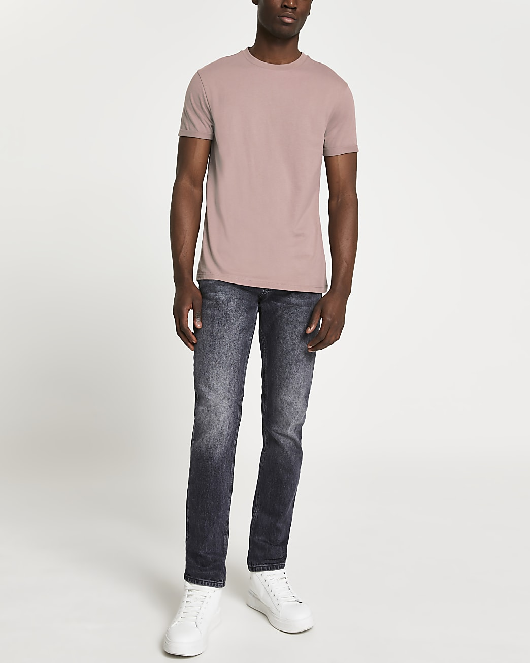 Brown rolled sleeve slim fit t-shirt