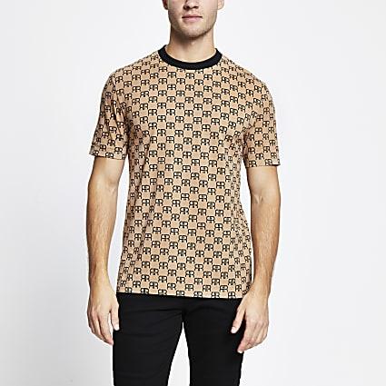 Brown 'RR' monogram slim fit t-shirt