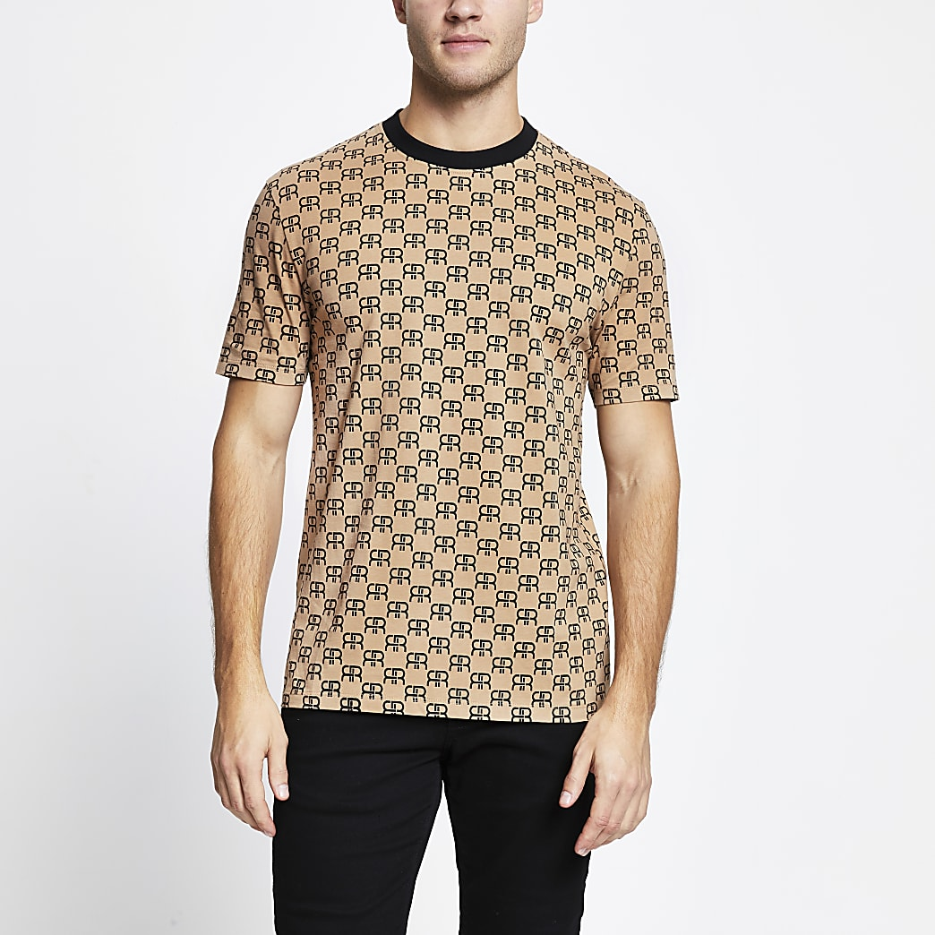Brown 'RR' monogram slim fit t-shirt