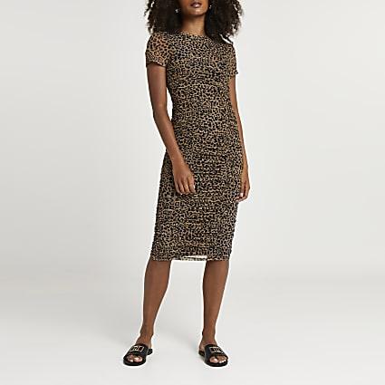 Brown ruched leopard print midi dress