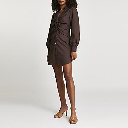 Brown ruched long sleeve mini shirt dress